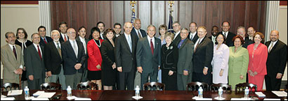 White House Photo: RTNDA Board Members with President George W. Bush