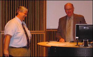 Associate Professor Paul Bolls and University Provost Brian Foster