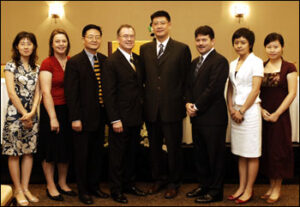 Brady Deaton and Weijia Sun with International Programs Staff and Graduate Students