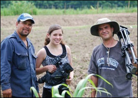 Elizabeth Reed and Maury Vasquez with Plantain Farmer