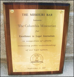 The Missouri Bar 2009 Award for Excellence in Legal Journalism
