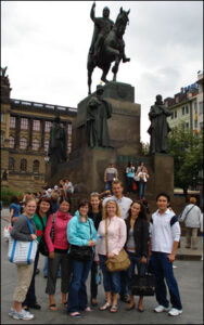 Students at Wenceslaus Square in Prague