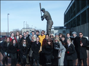 Group Shot at Statue of Ernie Banks