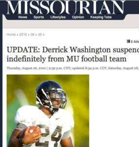 Derrick Washington Suspended Indefinitely from MU Football Team