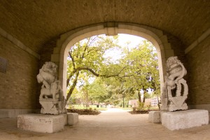 J-School Archway with Chinese Stone Lions