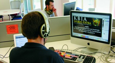 Student Editing Audio for KBIA