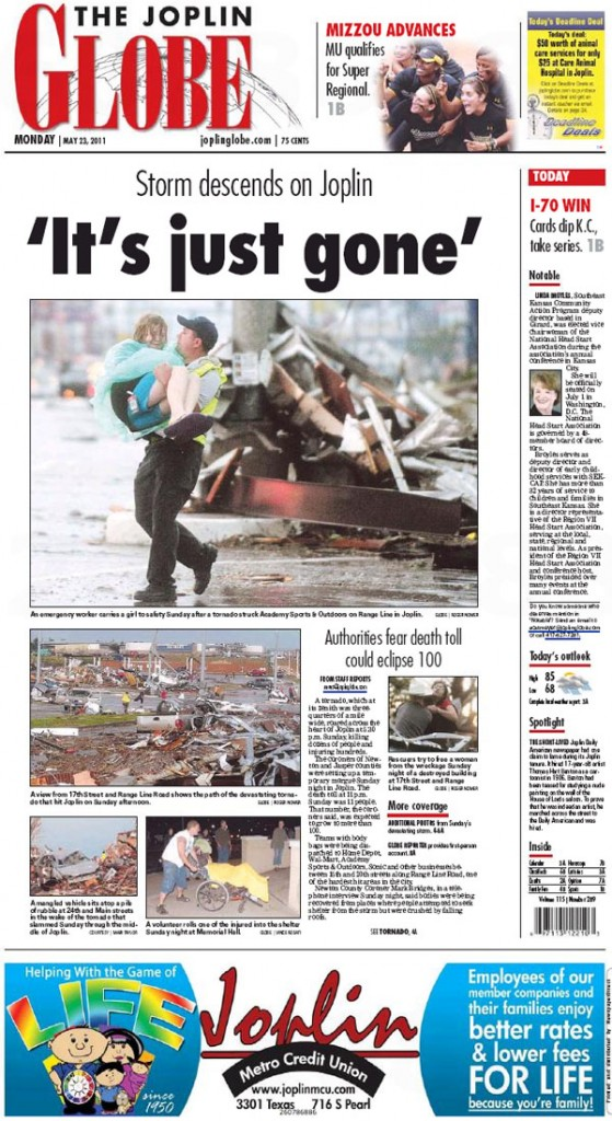 Joplin Globe Front Page from May 23, 2011