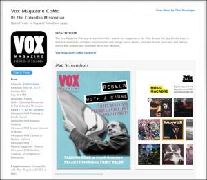The Vox Magazine CoMo app on iTunes.