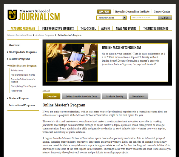 Missouri Journalism Online Master's Program