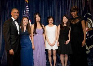 Barack Obama, Alexandria Baca, Anqi Du, Ruisha Quan, Yan Lu and Michelle Obama