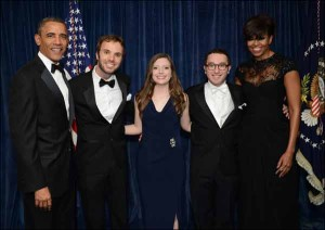Barack Obama, Kip Hill, Gina Cook, Steven Rich and Michelle Obama