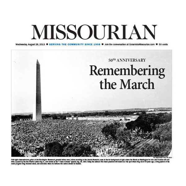 Aug. 28, 2013 front page of the Columbia Missourian.