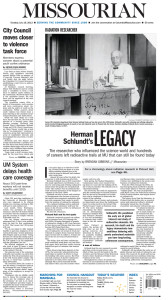 """Herman Schlundt's Legacy"" by Brendan Gibbons, Page 1."