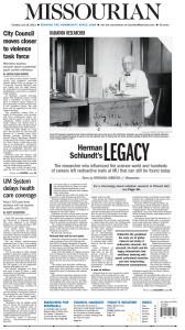 """Herman Schlundt's Legacy"" by Brendan Gibbons, Page 1."