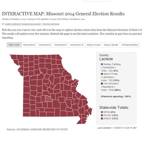 Interactive Election Map by Travis Hartman, Roman Kolgushev and James Gordon