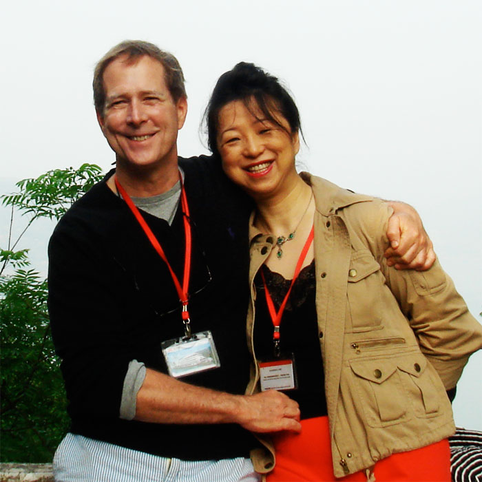 Stephen Baer, BJ '76, with his wife in China.
