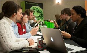 Strategic Communication students speak with recruiters from Momentum Worldwide.
