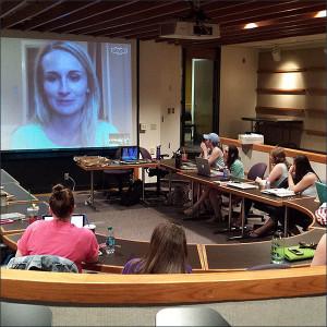 Joan Niesen Skypes with MU's Association for Women in Sports Media