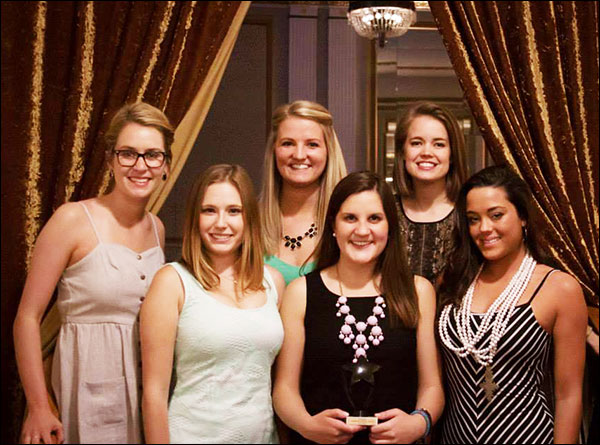 AdZou team Advocate gather for a photograph after winning first place in strategy and third in design. From left: Zoe Ellis, Alexandra Kurtyka, Erin Ratican, Maggie Hall, Kahlee Andresen and Samantha Dulle.