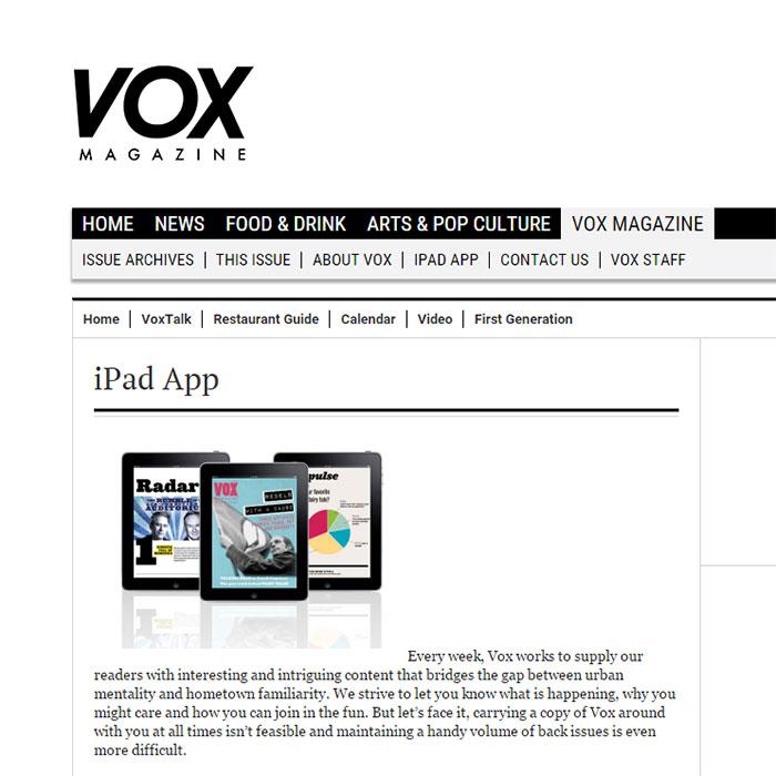 Vox Magazine iPad Edition