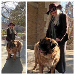 Sandy Davidson with her dog Harley.