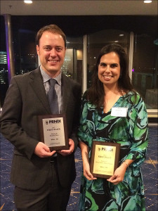 KBIA's Ryan Famuliner and Sara Shahriari accepted the awards at a banquet in St. Louis on Saturday, June 25, 2016. Photo: Kelly Famuliner.