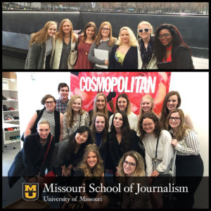 Mizzou Magazine Club students visit the 9/11 memorial (top) and Cosmopolitan Magazine. Photos: Brittany Emond.