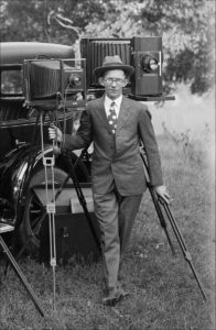 Photographer O.N. Pruitt with large format camera, circa 1925.