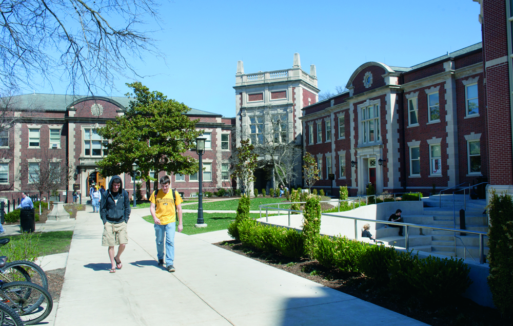 Students Walking by Neff Hall