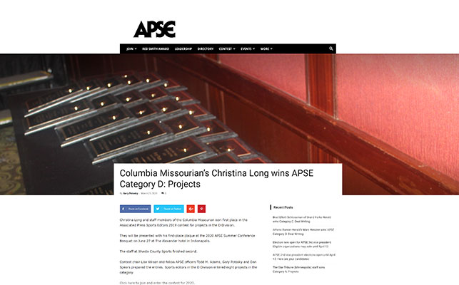 Columbia Missourian's Christina Long wins APSE Category D: Projects