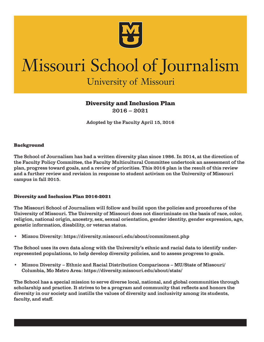 Missouri Journalism Diversity and Inclusion Plan 2016-2021