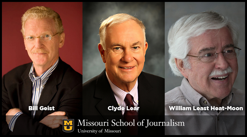 Golden Quill Award winners Bill Geist, Clyde Lear and William Least Heat Moon