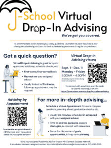 Download: Virtual Drop-In Advising Hours Fall 2020