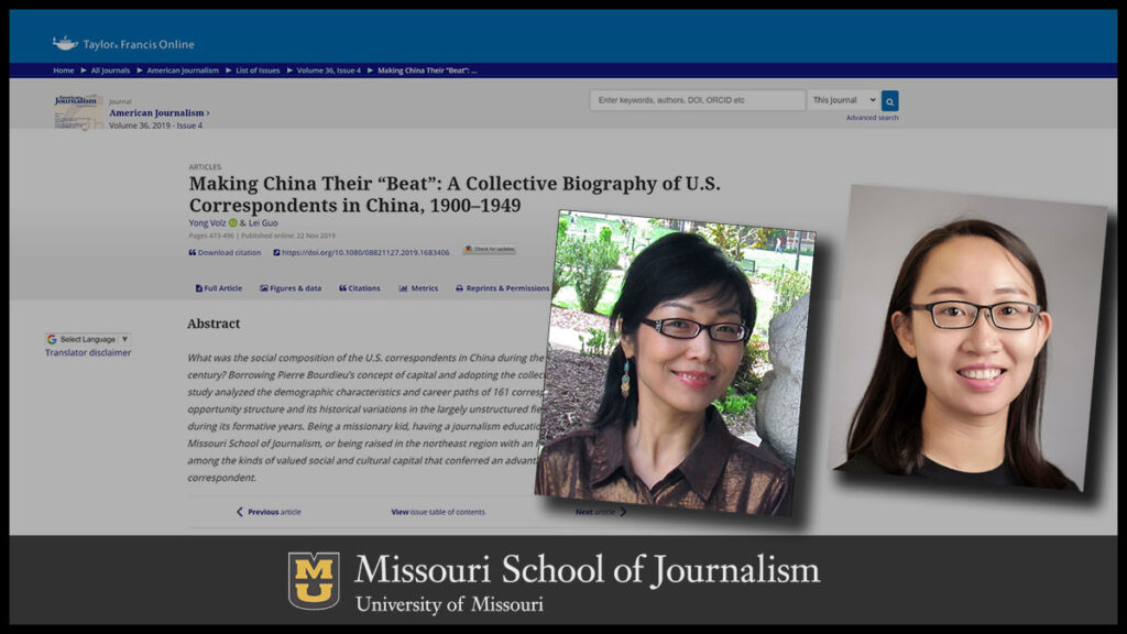 Yong Volz and Lei Guo: Making China their 'beat': A collective biography of U.S. correspondents in China, 1900-1949