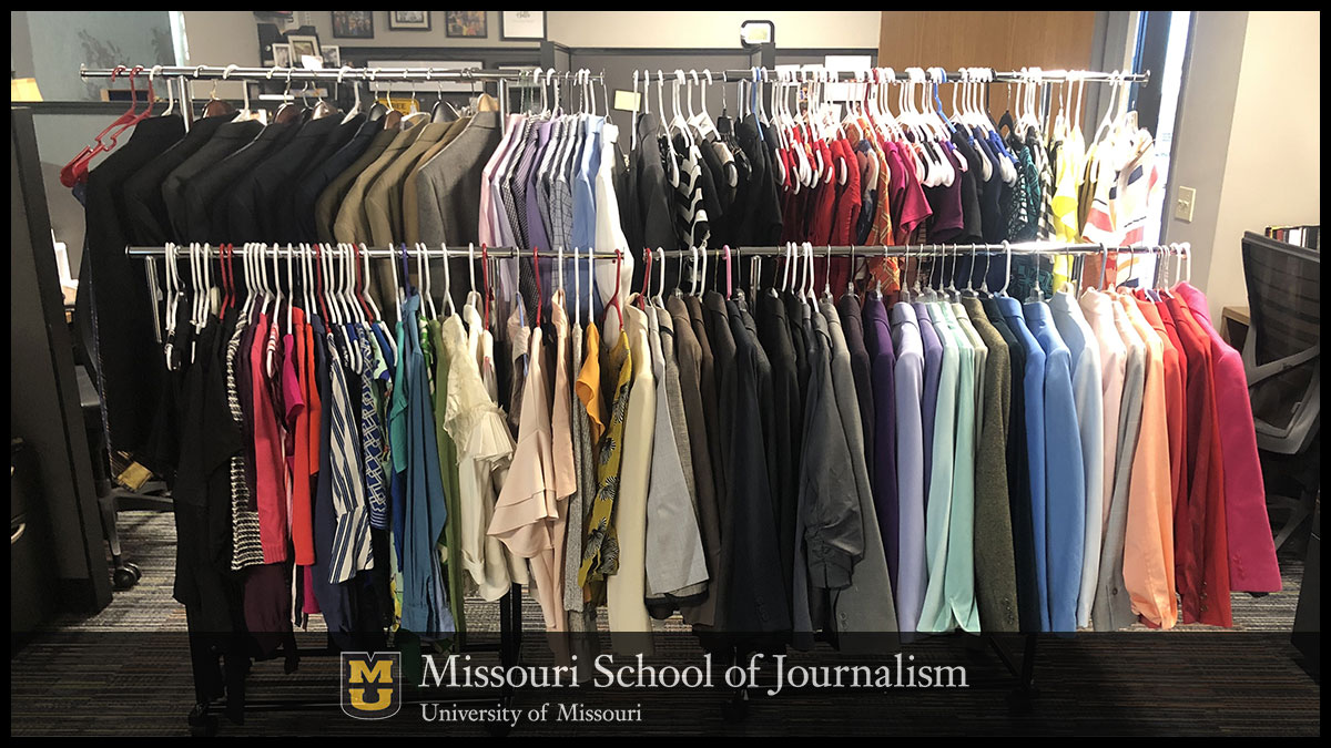 "Through their contributions to the ""KOMU Closet,"" Missouri School of Journalism alumni help provide gently-used professional clothes to current broadcasting students for their first job at KOMU-TV."