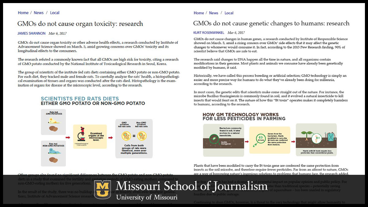 Study participants were assigned three news articles to read. Some included infographics with the text.