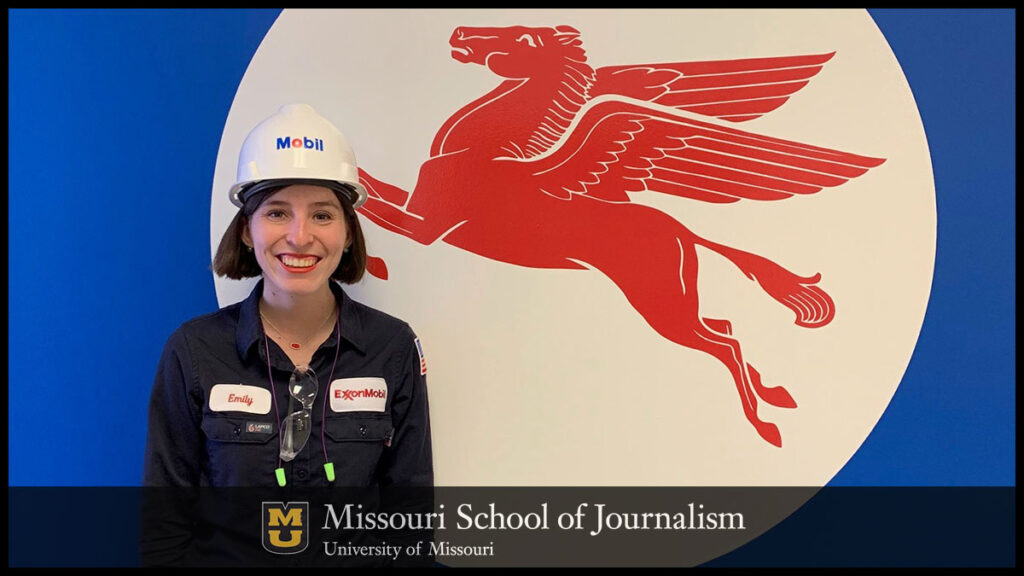 Growing up, Mizzou alumna Emily Russell, BJ '17, could not have imagined she would be wearing flame retardant clothing and working at a manufacturing site.