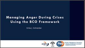 Managing Anger During Crises Using the BCO Framework